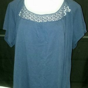 Laced Crochet Neck Ladies Top